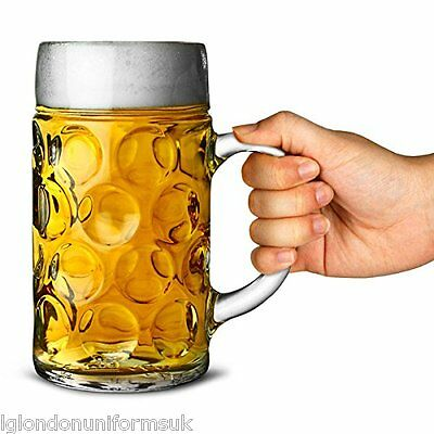 German Beer Stein Glass 1L Dimpled Beer Mug German Beer Tankard Masskrug