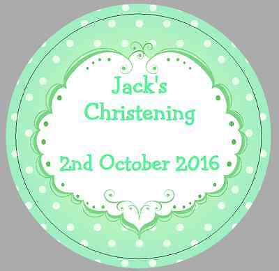 24 x 40mm Personalised Stickers Round Christening Green Frame Spots Labels Seals