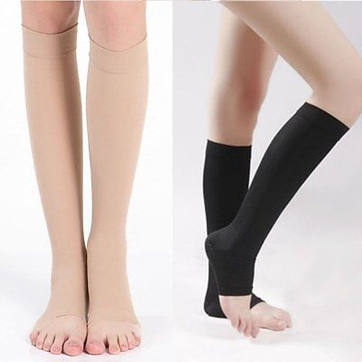 Knee High Open Toe Women Men Unisex Compression Socks Leg Fatigue Relief
