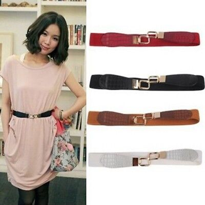 Women Metal Gold Buckle Elastic Stretch Waist PU Leather Fashion Belt Waistband