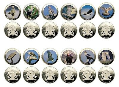 Malawi 10 Kwacha X 12 Piece, 50g Silver Plated Coin Set, 2010,Mint,Birds of Prey