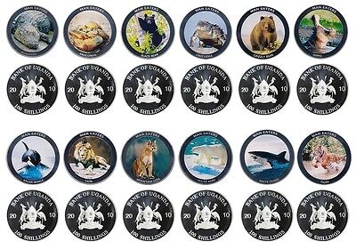 Uganda 100 Shillings X 12 PCS,Silver Plated Coin Set,2010,Mint,Animals Man Eater