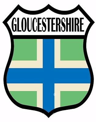 1 x Gloucestershire Flag Decal Car Motorbike Laptop Window Sticker - Free P & P