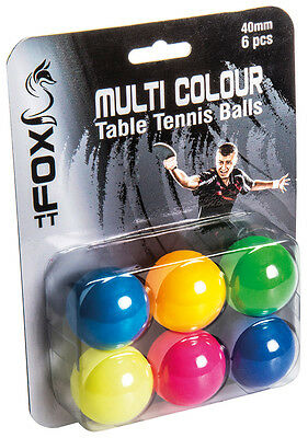 Fox TT Coloured Table Tennis Practice 40mm Coloured Balls Pack of 6