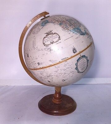Vintage REPLOGLE WORLD Classic SERIES 12 inch RAISED Relief GLOBE Wooden Base