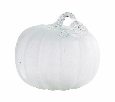 "New 9"" Hand Blown Art Glass White Pumpkin Sculpture Figurine Harvest Fall"