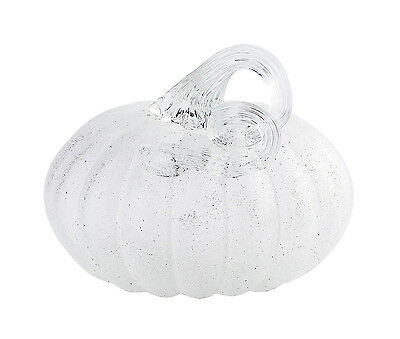 "New 5"" Hand Blown Art Glass White Pumpkin Sculpture Figurine Fall Harvest"