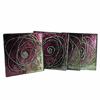 Glass Coasters set of 4 sparkle, purple, silver and black
