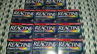 REACTINE 12 Hour non Drowsy. Sinus and Allergy 300 Tablets Total.