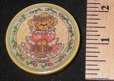 1980's Lucy Rigg Teddy Bear Round Refrigerator/Office Magnet ~ Victorian Bear