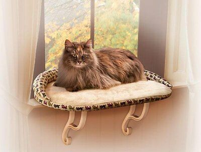 KH Mfg Kitty Sill Deluxe Cat Pet Window Perch Seat Bed Tan Kitty Print KH3097