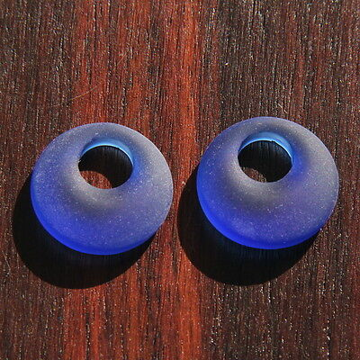 Donut Ring Pendant Beads, Royal Blue w/Sea Glass Finish, 20mm, 2 Pieces