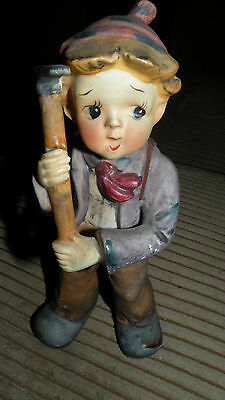 """Vintage CHASE Hand Painted Mountain Climber Boy 8"""" x 3.5"""" x 3.5"""""""
