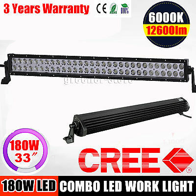"33"" 180W LED WORK LIGHT BAR FLOOD SPOT COMBO 4WD OFFROAD SUV4x4 ATV JEEP TRACTOR"