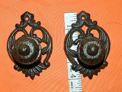 "Set/2 Large Ornate 4"" Drawer Cabinet Door Pull Knob Pulls Cast Iron"