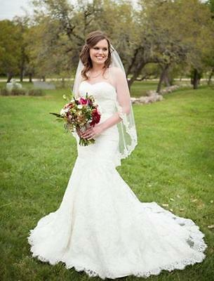 Fingertip Length Lace Edge 1 Tier Wedding Bridal Veil with Comb