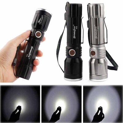 Camping 3 Modes T6 Zoomable LED Flashlight 5000Lumens Light Tactical Torch 18650
