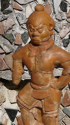 ANTIQUE ANCIENT(16c-17c) CHINESE TOMB FIGURE OF WARRIOR STANDING ON FOO-DOG