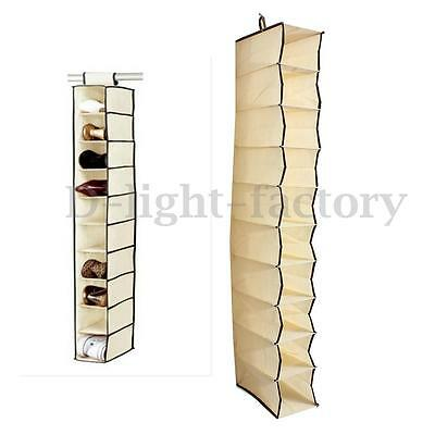 Beige 10 SECTION HANGING WARDROBE SHOE GARMENT ORGANISER STORAGE CLOTHES TIDY