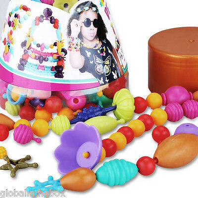 Excelvan DIY Kid Pop Beads Toy Snap together Jewelry Fashion Kit 160 Pieces Fun