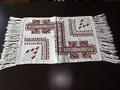 Antique Bulgarian Authentic Hand-Embroidered Multi-Color Pillowcase with Fringes