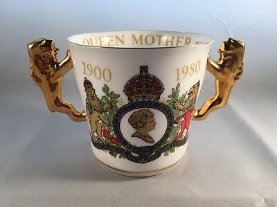 Paragon China Lion Handle Loving Cup 80th Birthday Queen Mother 1980