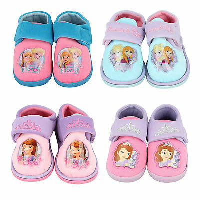 Girls Disney Frozen Crown Sofia Princess Pink Purple Blue Indoor House Slippers