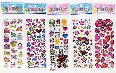 3D cartoon lover hearts Stereoscopic puffy Stickers-Lot Of 5 Kids gift
