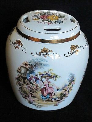 Lord Nelson Pottery Lidded Pomander Gold Floral Classic Scenes