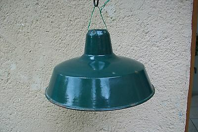 Vintage French large Green Industrial enamel shade - loft - apartment factory