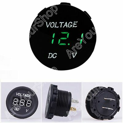 12V-24V Car Motorcycle LED Digitalanzeige Voltmeter Socket Gauge Meter Green