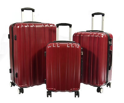 Travel Suitcase Luggage Four Wheels Spinner PC Hard Shell Trolley Case Red