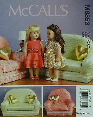 """McCall's 6853 PATTERN for 18"""" DOLL CLOTHES & FURNITURE fits American Girl Dolls"""