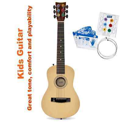 Natural Small Tunable Acoustic Guitar For Kids 6 String Easy Playing Great Tone