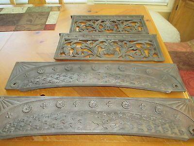 Cast Iron Fire Place Pieces Vintage 1910 Ornate Lot of 4 sections- Last chance
