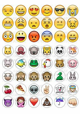 48 Emoji Wafer / Rice Paper Cupcake Topper Edible Fairy Cake Bun Toppers
