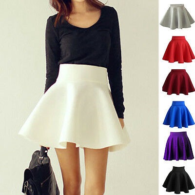 Vintage Women Stretch High Waist Short Plain Skater Flared Pleated Skirt Fine US