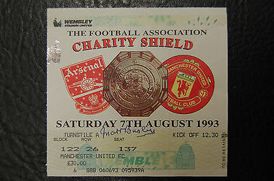 Matt Busby Manchester United Signed Ticket 1993 Charity Shield V Arsenal