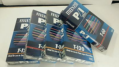 5  Maxell Vhs Video Cassette Tapes - 6 Hour (Ep Mode) P/i Plus T-120  New