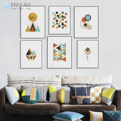 Modern Geometric Abstract Mountain A4 Print Poster Home Deco Canvas Art Painting