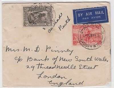 Stamps various on cover Sydney 1936 sent airmail to England