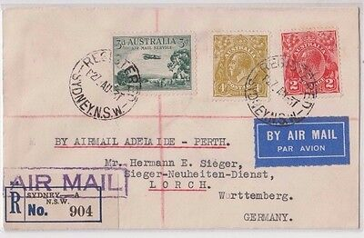 Stamps Australia various on cover 1931 register airmail Sydney to Germany