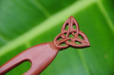 Handmade carved CELTIC wooden HAIR PIN FORK PICK Sapodilla wood new carving