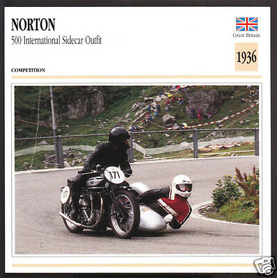 1936 Norton 500cc International Sidecar Outfit Motorcycle Photo Spec Info Card