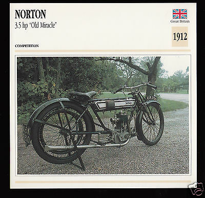"""1912 Norton 3.5 hp """"Old Miracle"""" 490cc 500 Motorcycle Photo Spec Sheet Info Card"""
