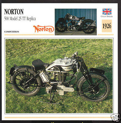 1926 Norton 500 Model 25 TT Replica 490cc Motorcycle Photo Spec Sheet Info Card