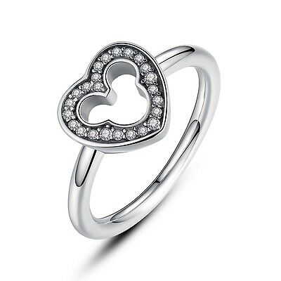 Genuine 925 Sterling Silver Ring With Disney Mickey Mouse Silhouette Hearts Ring