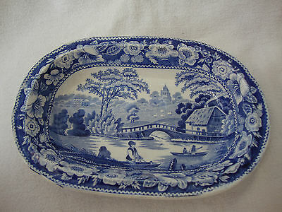 Antique Blue & White Transfer Printed Fish / Sardine Pilchard Shallow Dish