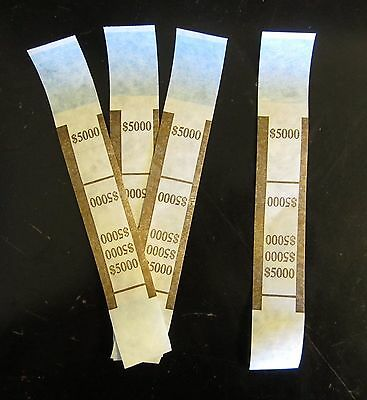 100  Self Sealing Brown $5000 Currency Straps Money Bill Bands Pmc Brand Band