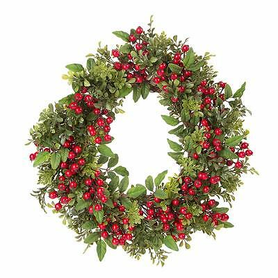 "NEW 24"" Red Berry Box Wood Christmas Wreath 30012441"